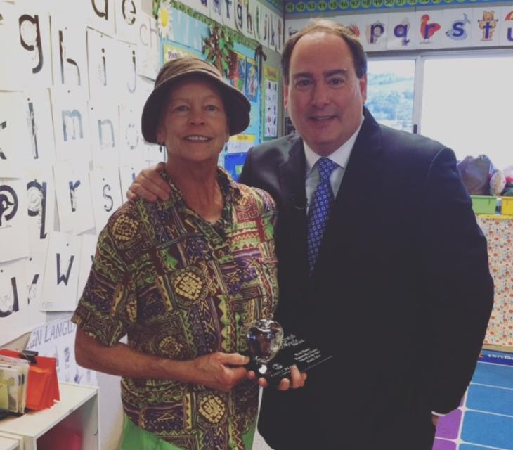 Nora Manss is awarded KSBW's Crystal Apple Award